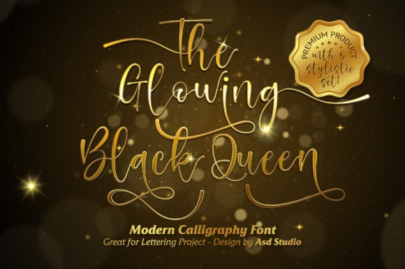 The Glowing Black Queen Font