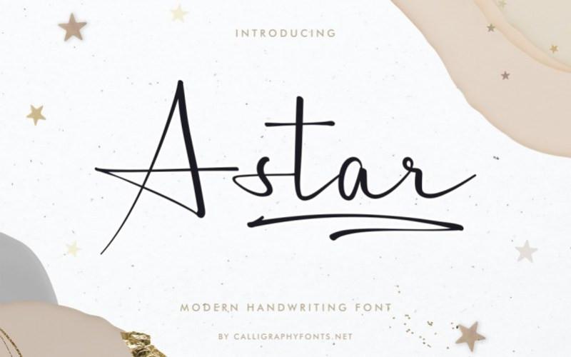 A Star Script Font