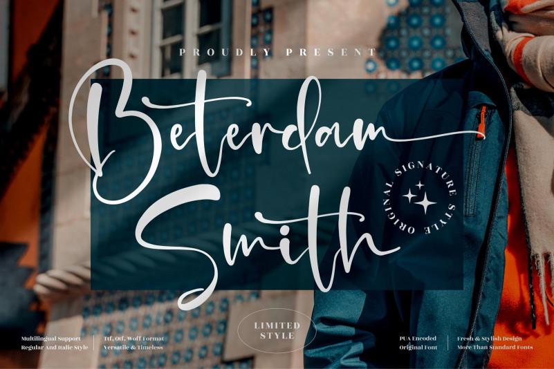 Beterdam Smith Script Font
