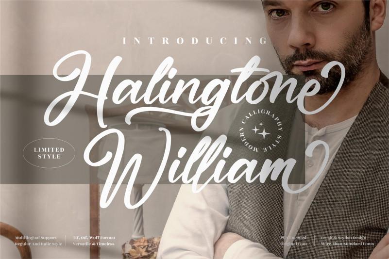 Halingtone William Script Font