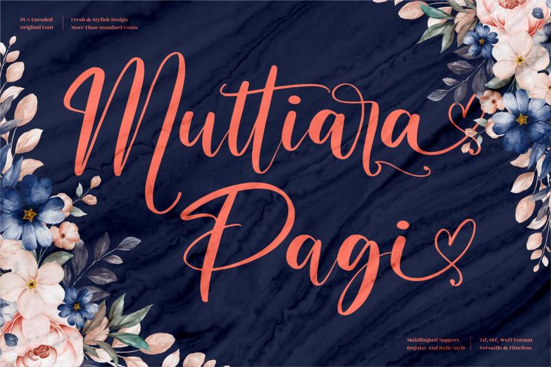 Muttiara Pagi Script Font