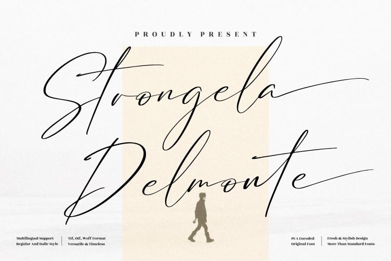 Strongela Delmonte Script Font