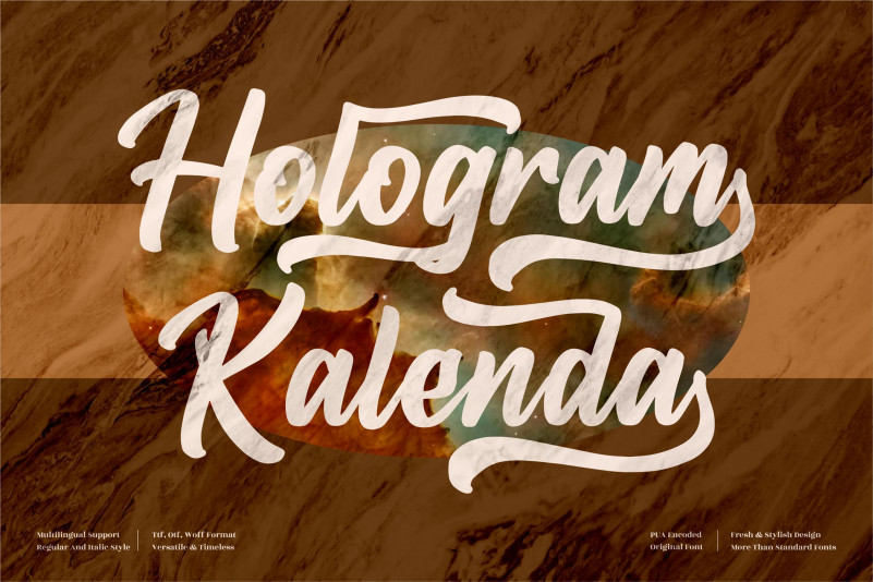 Hologram Kalenda Calligraphy Font