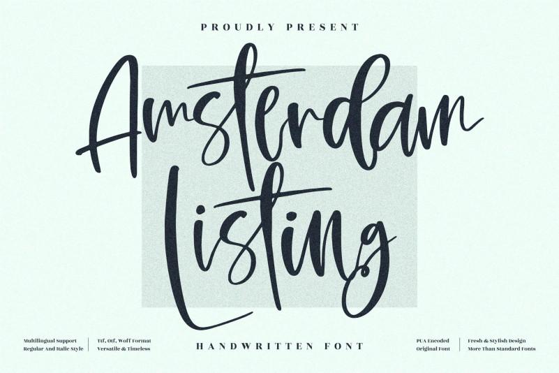 Amsterdam Listing Handwritten Font