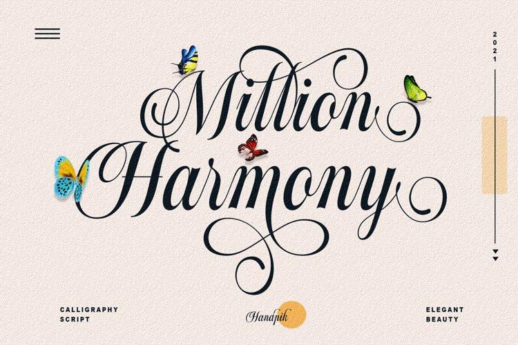 Million Harmony Calligraphy Font