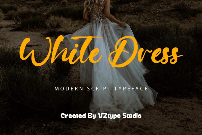 White Dress Script Font