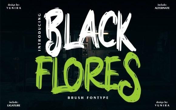 Black Flores Brush Font