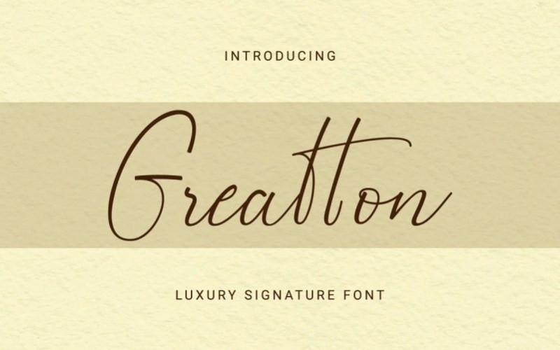 Greatton Handwritten Font